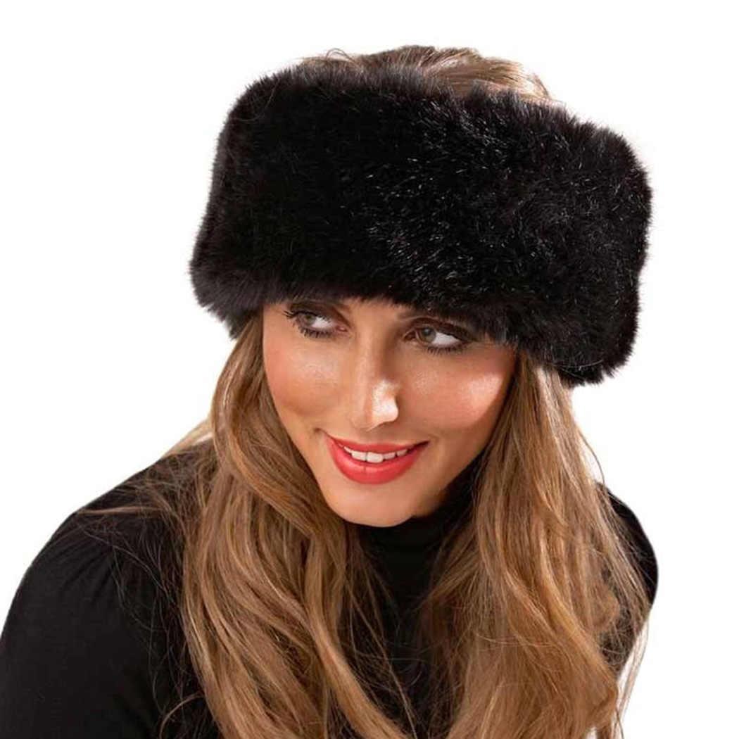 67322a94 Russia Style Fox Fur Hat For Women Faux Fluffy Headband Russian Winter  Thick Warm Ears Fashion