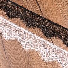 6 м/лот вышитые ресницы кружева ленты черный белый Diy платье Свадебное кружево Аппликация отделка шитье 65 мм ширина вечерние украшения
