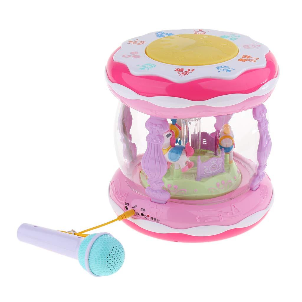 Tambour rotatif électrique avec Microphone Instrument de musique jouet développement sensoriel jouets éducatifs précoces pour enfants en bas âge enfants