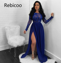 2019 Sexy Open Back See Through Sequins Night Club Dress O Neck Long Sleeve High Slit Maxi Evening Party Dresses Vestido
