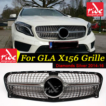 X156 Diamond Front Grille ABS Silver Fits For MercedesMB GLA-Class GLA180 GLA200 GLA250 radiator mesh without central logo 14-16 for mercedes benz gla x156 front grille silver abs gla45 amg gla180 gla200 gla250 without central logo front racing grille 14 16