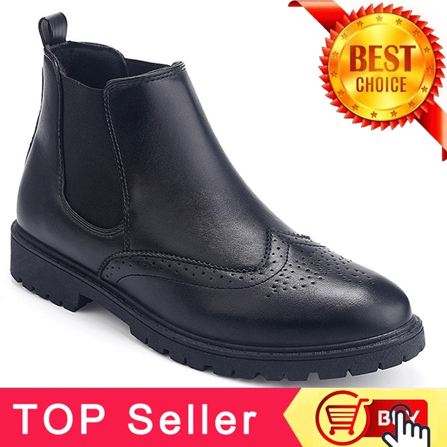 Czarny Brogue buty Chelsea męskie buty kostki buty męskie obuwie sztuczna skóra buty Chelsea dla mężczyzn jesień buty PINSV