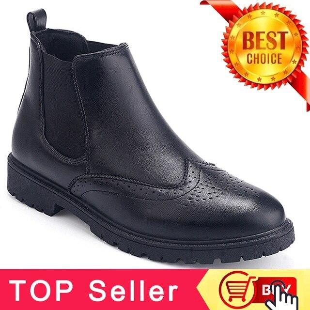 Đen Giày Đi Núi Chelsea Boots Mens Giày Mắt Cá Chân Khởi Động Người Đàn Ông Giày Dép Da Nhân Tạo Chelsea Khởi Động Cho Nam Giới Mùa Thu Giày PINSV