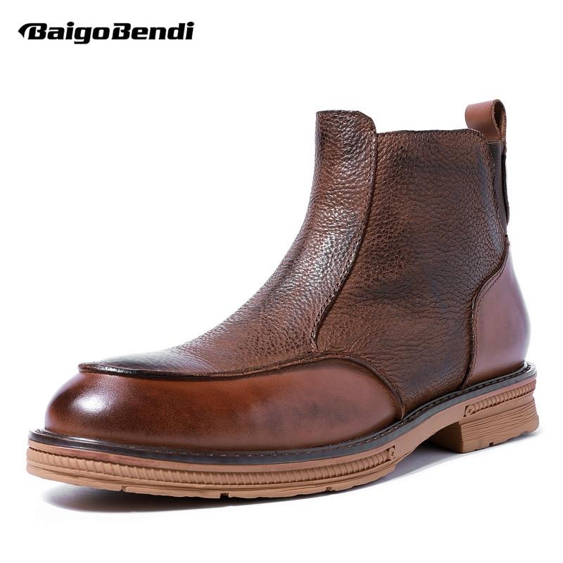 Botas de alta gama para hombres zapatos de invierno botas de cuero de grano completo Chelsea hombre de negocios elegantes botas de tobillo con cremallera Retro-in Botinas from zapatos    1
