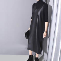 [EAM] 2019 New Spring Summer Strapless Sleeveless Black Pu Leather Loose Brief Dress Women Fashion Tide All-match JO287 6