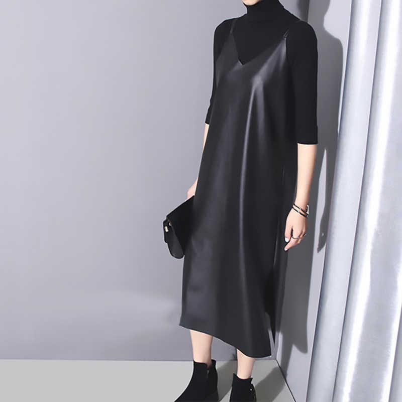 [EAM] 2020 nowa wiosna lato bez ramiączek bez rękawów czarny Pu skóra luźne, proste sukienka kobiety moda fala cały mecz JO287