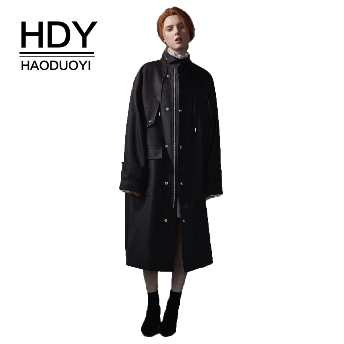 HDY Haoduoyi Oversized Collar Split Color Stitching Windbreaker Black New Arrival Autumn   Trench   Coats