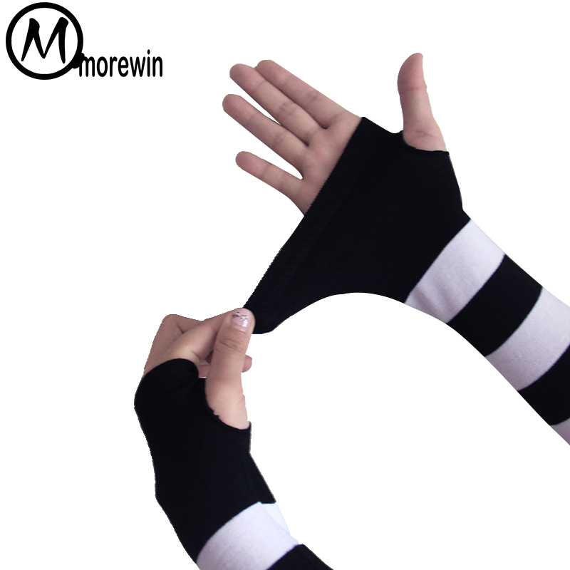 New Fashion Sunscreen Gloves Women&Men Sexy Long Striped Driving Gloves Lady Sexy Mens Autumn Mittens Male Summer Opeara Mittens