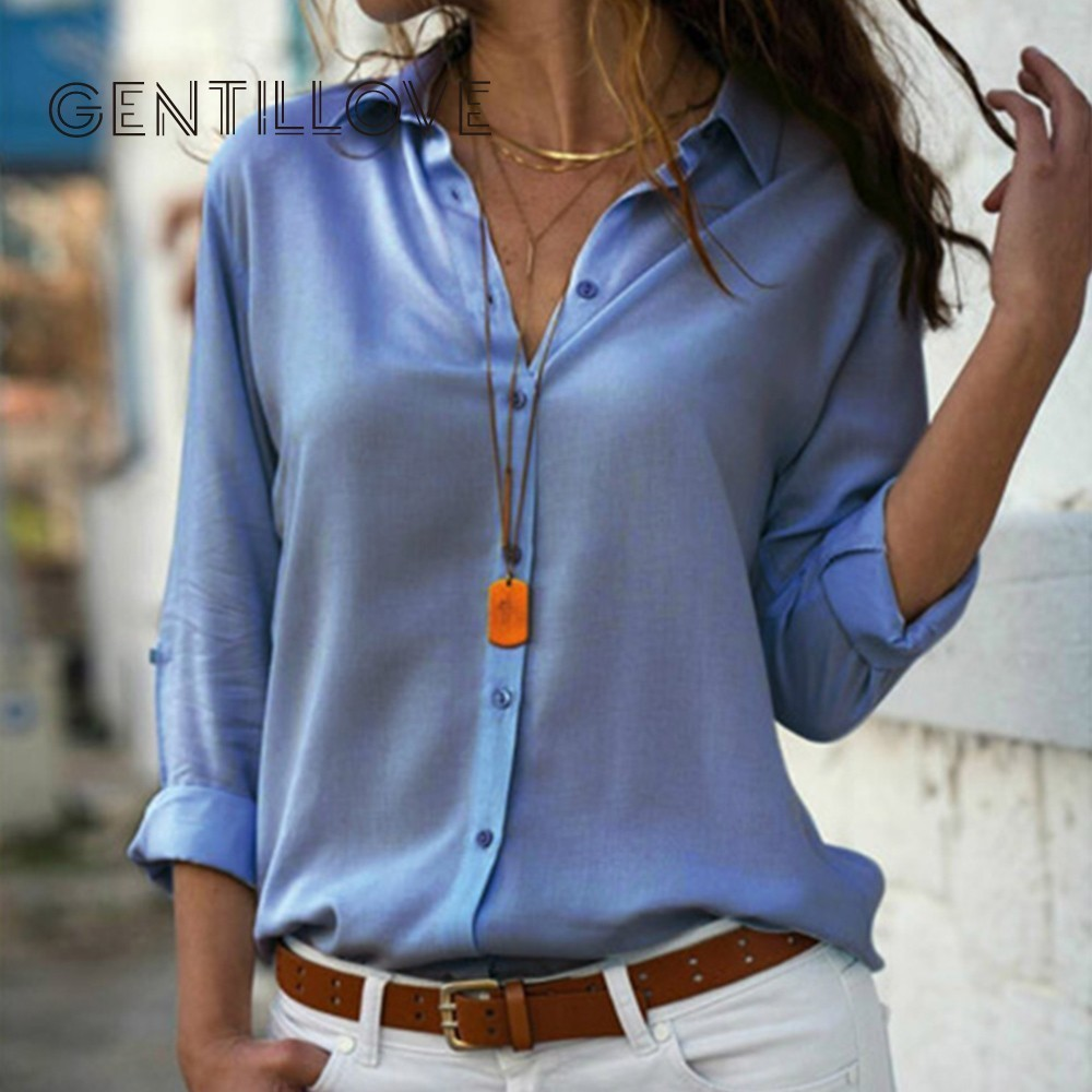 Gentillove Elegant Long Sleeve Solid V-Neck Chiffon Blouse 2019 Summer Women Tops Female Office Shirts Plus Size 3XL