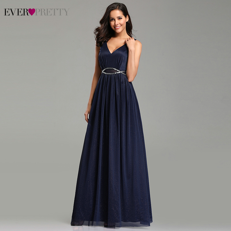 Prom     Dresses   Deep V-Neck A-Line Sleeveless Floor-Length Vestidos De Fiesta De Noche Ever Pretty 2019 Elegant Sexy Party Gowns