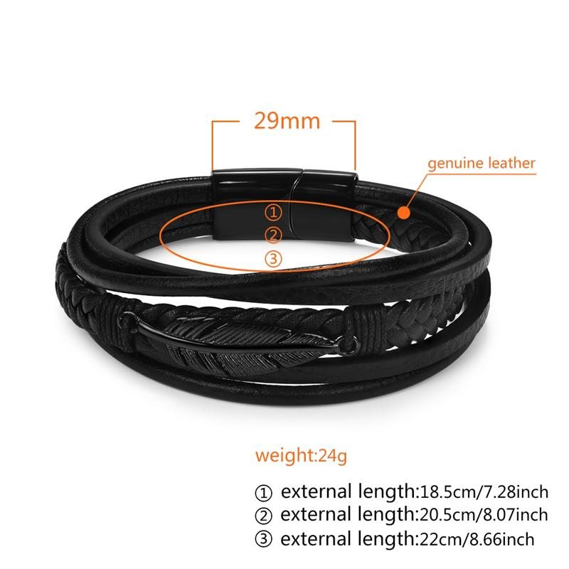 Jiayiqi Multi-Layer Genuine Leather Leaf Feather Bracelet For Men Stainless Steel Magnetic Clasp Fashion Bangles Male Jewelry