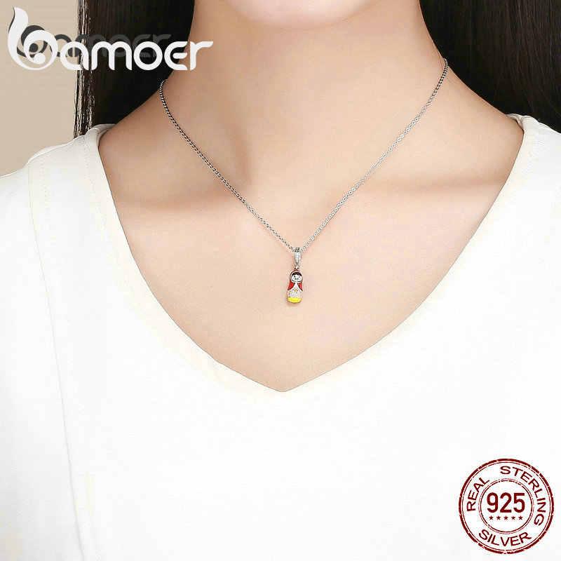 BAMOER Аутентичные 925 стерлингового серебра цвет эмаль матрешки Подвески подходят для женщин браслеты ожерелья DIY Ювелирные изделия SCC1134
