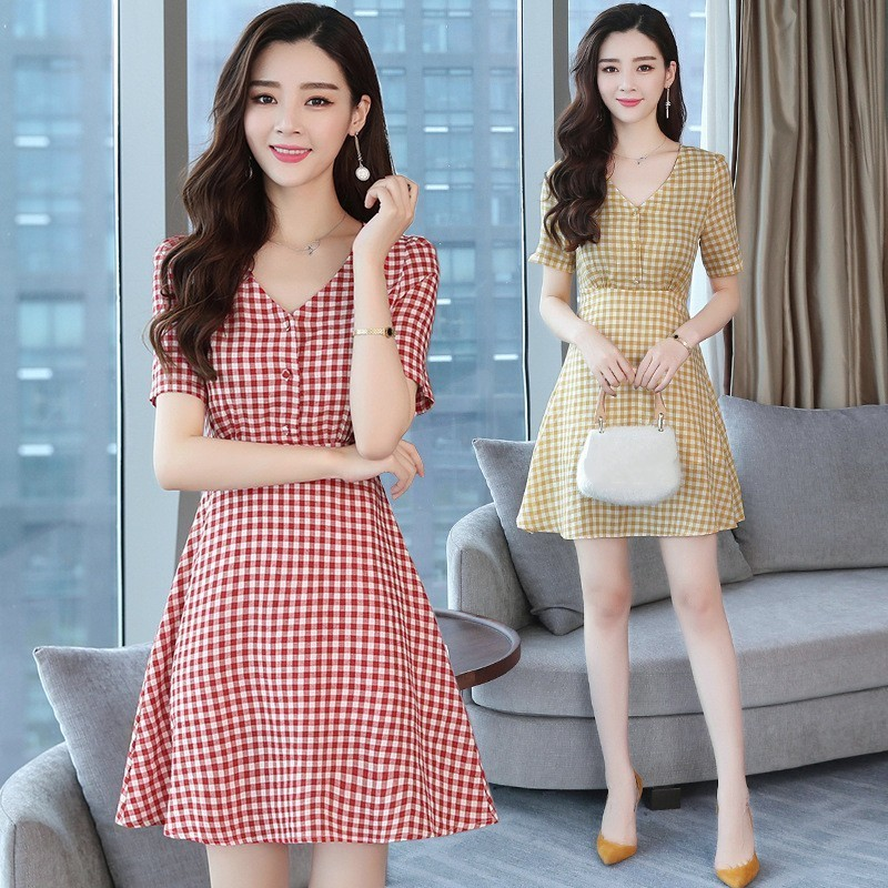 New Red Plaid Style Dress Casual Women Girls Traditional Vintage Lolita A-Line V-neck Dresses Novel Short Sleeve Dress