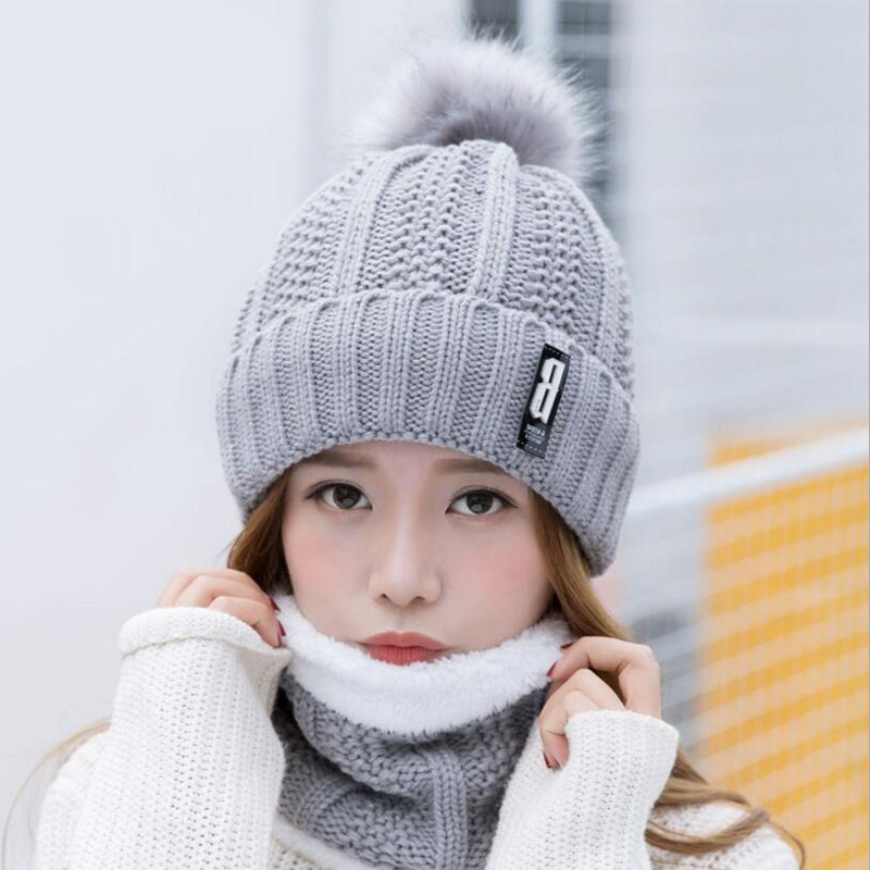 Neck Warm Knitted Winter Hat For Women Girl Wool Beanies Skullies Letter B Velvet Hat Mask Bonnet Femme Balaclava Scarf Hat