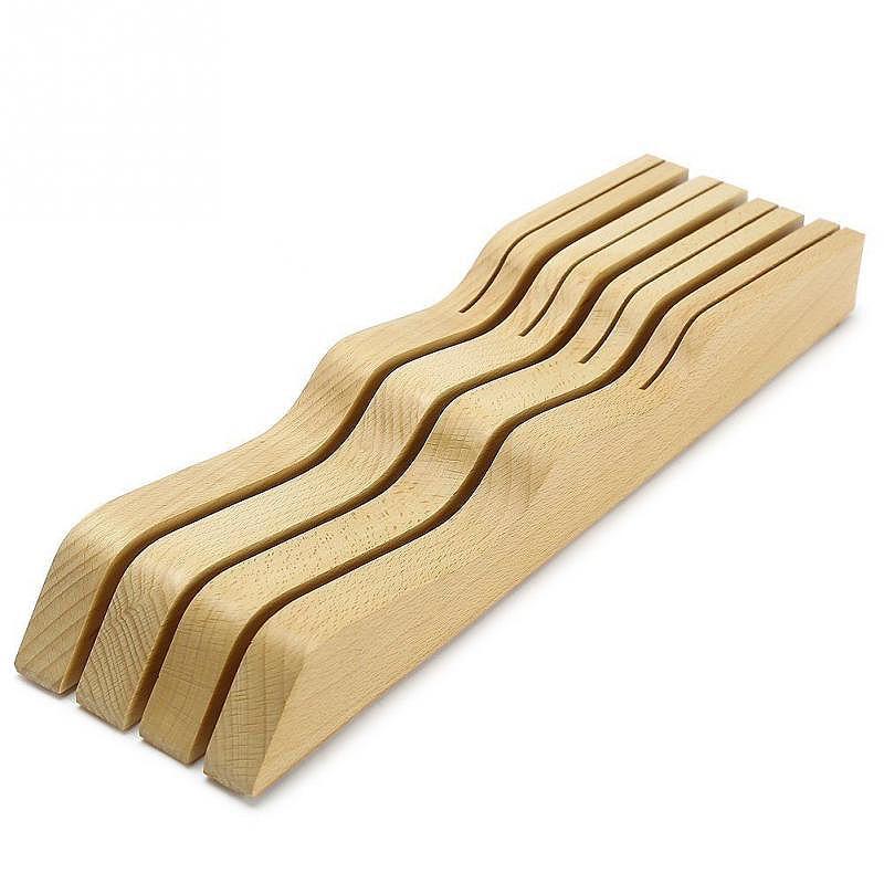Solid Wood Knife Wood Holder Block 7 Knife Slots Storage Organizer Kitchen Tool