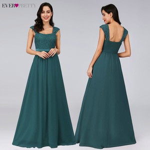 Image 3 - Burgundy Bridesmaid Dresses Elegant Long A Line Chiffon Wedding Guest Dresses Ever Pretty EZ07704 Grey Simple Vestido Longo