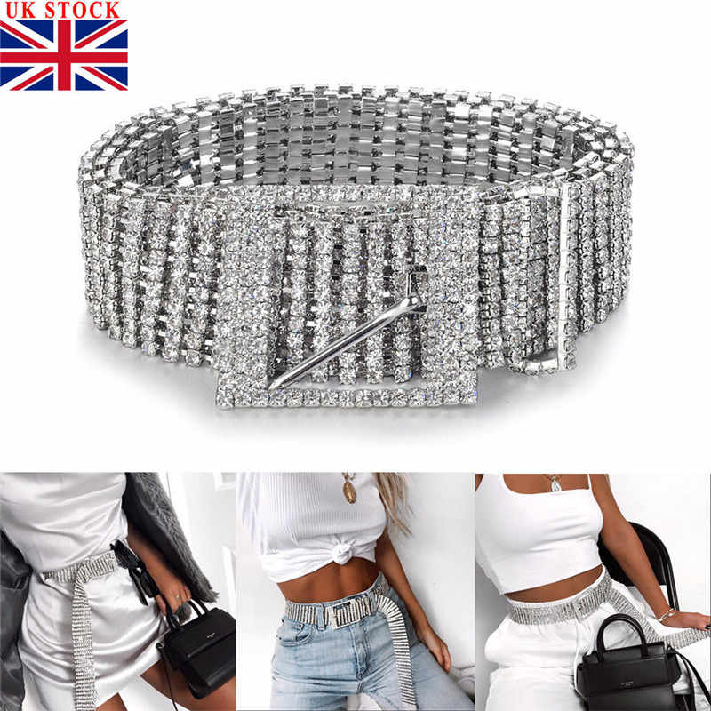 Female Silver Full Rhinestone Diamante Ladies Waist Charm Diamond Alloy Belt Fashion Accessory Casual One Size For Adults