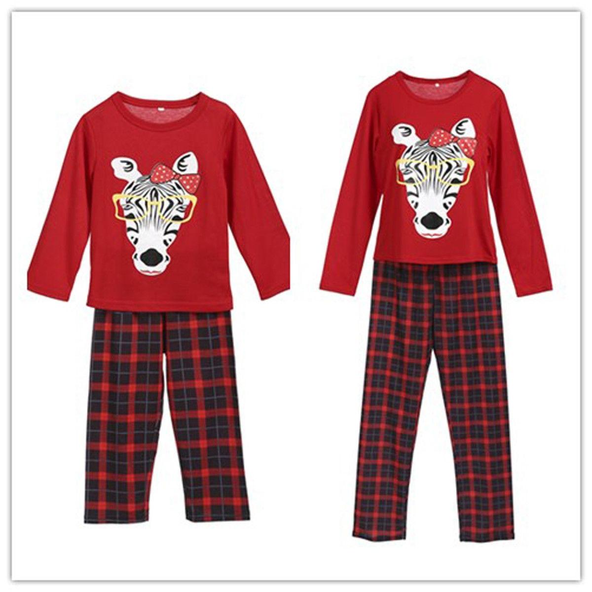 003b10812e Detail Feedback Questions about Xmas Family Pajamas Set Mom Kids Nightwear  Christmas Zebra Print Plaid pants PJ s Sleepwear on Aliexpress.com