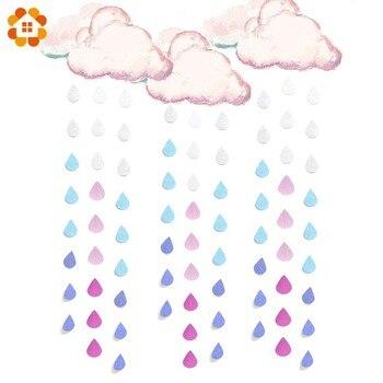 1 PC Creativo Goccia di Pioggia String Banner goccioline di Acqua Ghirlande di Carta Casa di Cerimonia Nuziale della Ghirlanda Bambini Festa di Compleanno Baby Shower Favori