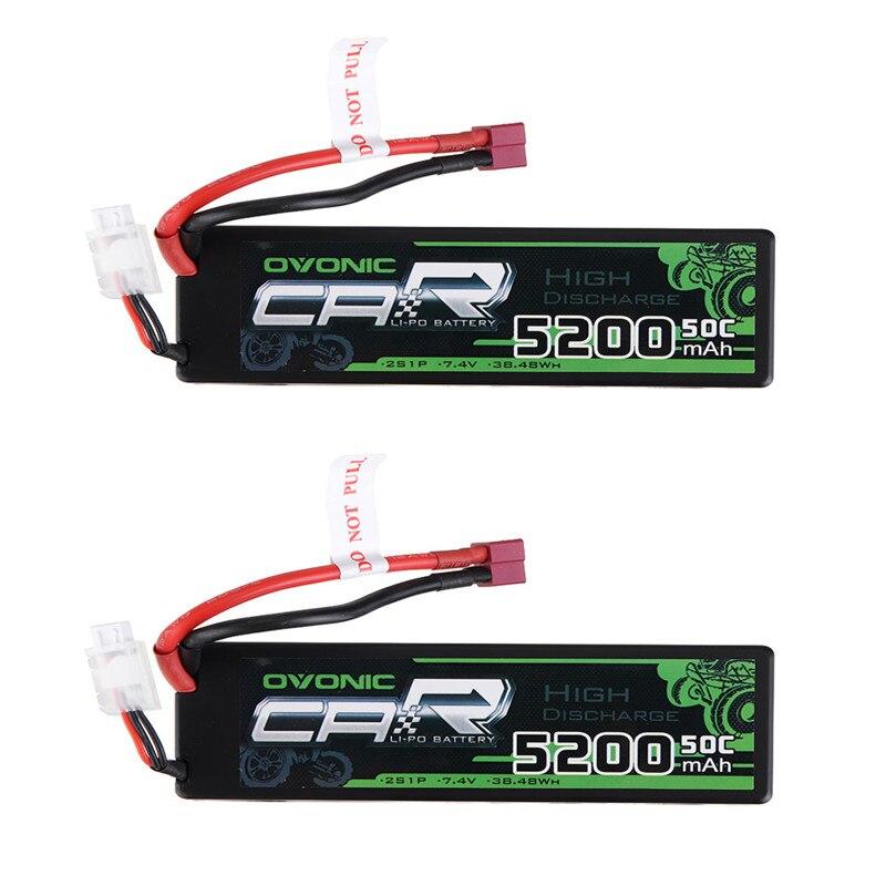 1/2/4 pièces POvonic 7.4 V 5200 mAh 50C 2 S Lipo batterie T Plug pour 1/8 1/10 RTR voiture RC