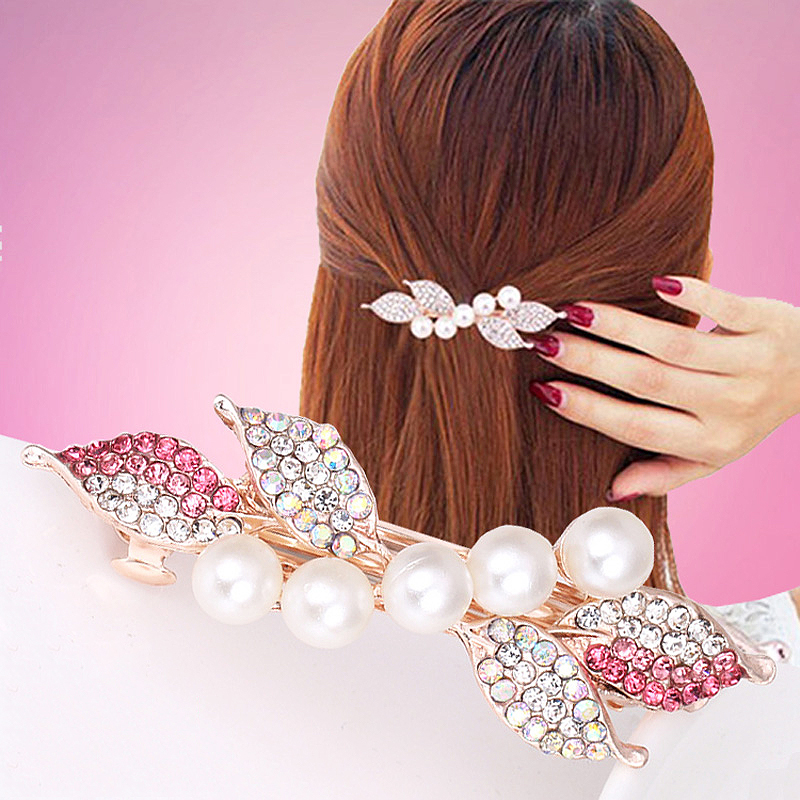 Hair Accessories Pearl Barrette Hair Pins Spring Clip Crystal