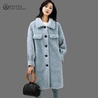 Real Fur Coat Shearing Jacket Sheepskin Winter Coat Women 2019 Lamb Wool Korean Single breasted Thick Warm Long Overcoat OKD574
