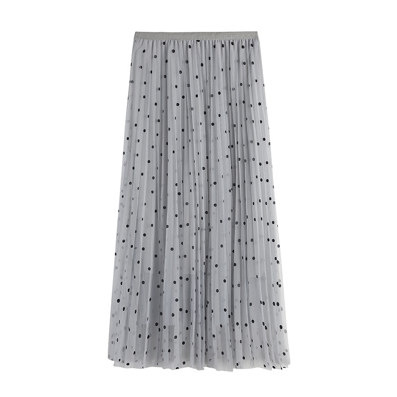 3854129c8f Vintage High Waist Polka Dot Lace Mesh Long Pleated Skirt Summer Spring  Pink Jupe Tulle Maxi Skirt Korean Style Women Skirts-in Skirts from Women's  Clothing ...