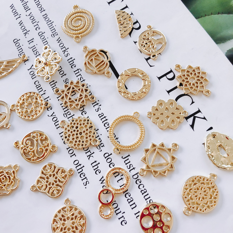 KC Gold Plated Eardrop Accessories Metal Pendant Earring Components Necklace Charms Diy Making Material Jewelry Finding 10pcs
