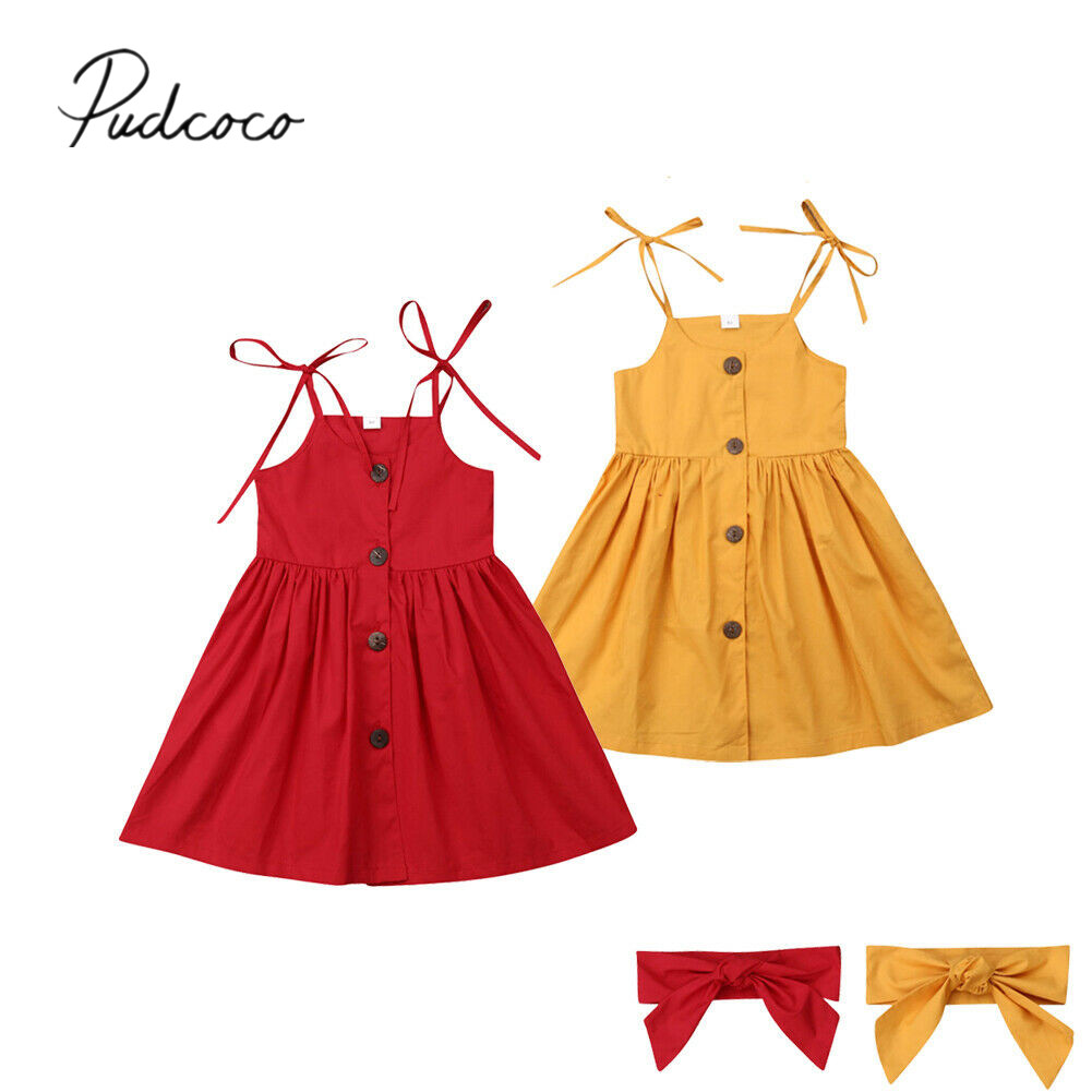 Summer Clothing Outfits Dress Headband Solid-Gown Princess-Strap Pageant Toddler Girls