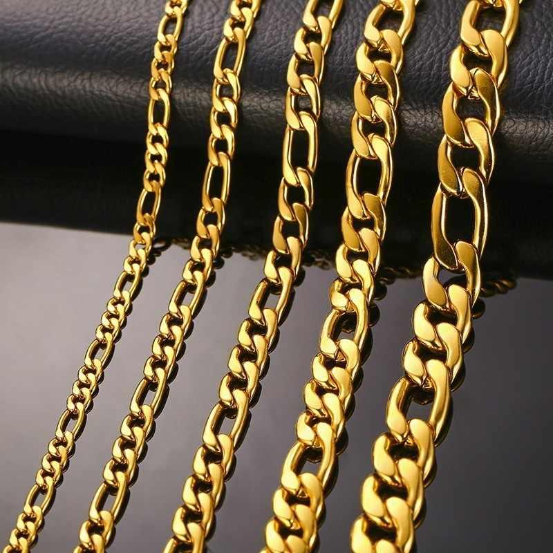 3899735791ad Los hombres de cadena Figaro collar acera enlace tono de oro de acero  inoxidable hombre Colar