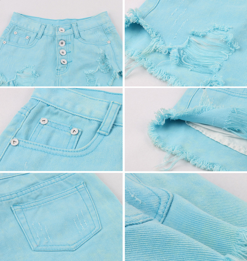 Señoras dark white De Cintura black Mini Blue Cortos Hole Alta Vaqueros Pantalones Blue Light Short Ripped Denim Sr1qfSwx