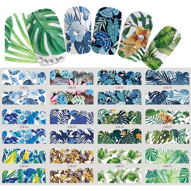 Водные Наклейки для ногтей переводные наклейки для тату Цветок тропический дизайн ногтя маникюрные салоны для дома DIY