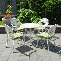 Set of 5 piece cast aluminum outdoor furniture dining set armrest chairs with round table in 39inch for garden ,patio,backyard