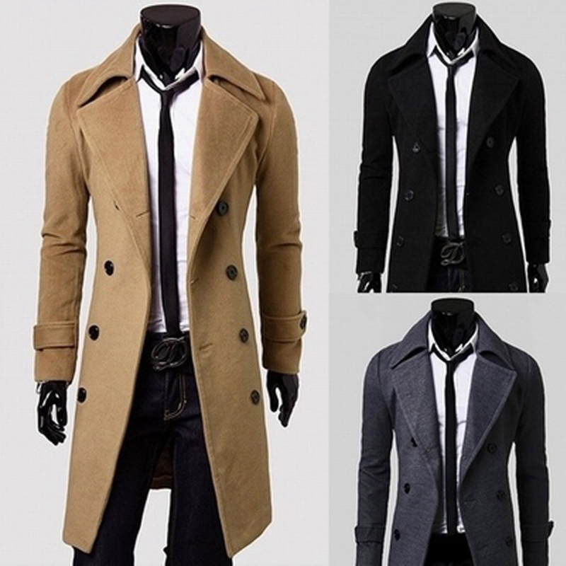 SWYIVY Slim Men Wool Trench Coat Double-breasted Lapel Windbreaker Autumn Winter Long
