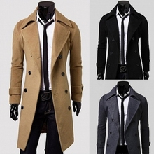 SWYIVY Long Slim Men Wool Trench Coat Double-breasted Lapel