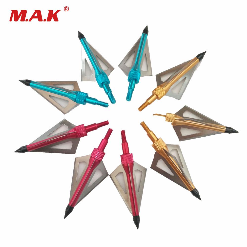 6/12pcs  Archery Arrowhead 100/125 Grain with 3 Fixed Blades for Crossbow Compound/Recurve Bow Hunting|Bow & Arrow| |  - title=