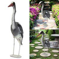 JX LCLYL Lifelike Large Plastic Resin Decoy Heron Garden Ornament Bird Scarer Fish Pond