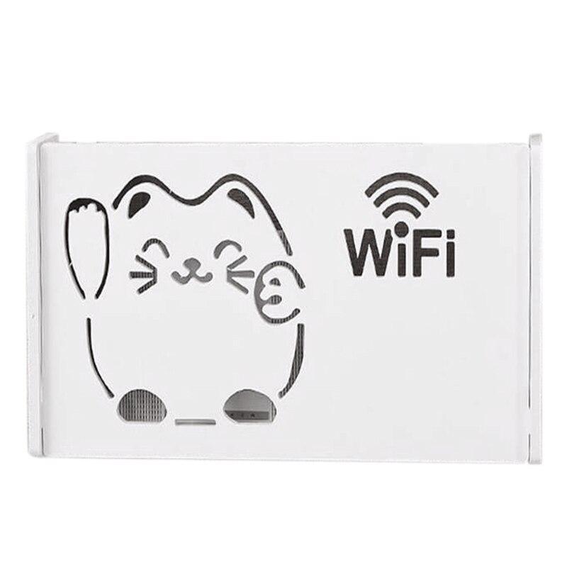 Alarm Praktische Draadloze Wifi Router Doos Wood-plastic Wandplank Opknoping Plug Board Beugel Opbergdoos Fijn Vakmanschap