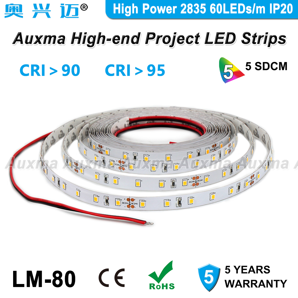 High Power 2835 60LEDs/m LED Strip,CRI95/CRI90,IP20,14.4W/m,12/24V,300LEDs/Reel,Non-waterproof,Red Green Blue Amber Yellow Pink image