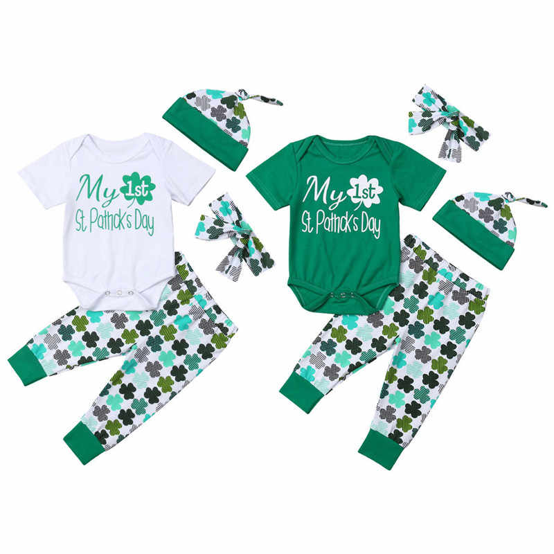 fbb32d78c Lovely Baby Girl Boy St Patrick's Day Clothes Outfits Unisex Baby Short  Sleeve Romper Clover Print