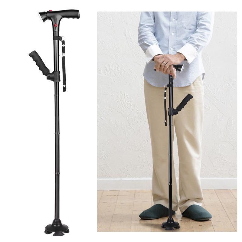 Sports & Entertainment Camping & Hiking Collapsible Telescopic Folding Cane Led Lightweight Walking Trusty Sticks Gifts Tv Elderly Small Four-legged Cane For Elder