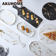 Golden Marble Pattern Ceramic Tableware Decoration Dinner Set European Style Plates Dish For Resturant AKUHOME