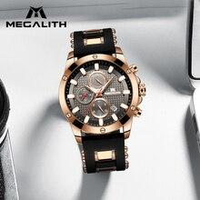 MEGALITH Sports Chronograph Mens Relógios Top Marca de Luxo Alça de Silicone À Prova D' Água Calendário Homem Relógio de Quartzo Relogio masculino
