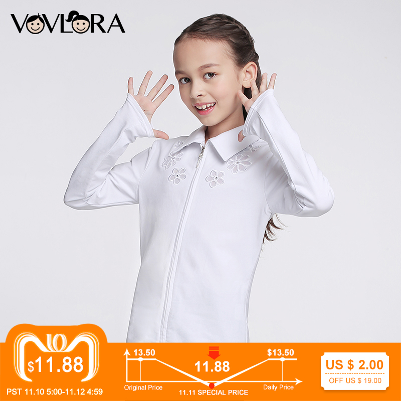цены на Girls School Blouse Long Sleeve Embroidery White Kids Blouses Cotton Zipper Summer Children Clothes Size 6 7 8 9 10 11 12 Years в интернет-магазинах