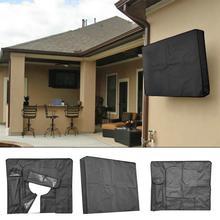 Уличный черный светодиодный чехол для телевизора с ЖК-экраном, водонепроницаемый, пыленепроницаемый, из микрофибры, светодиодный, всепогодный, универсальный протектор