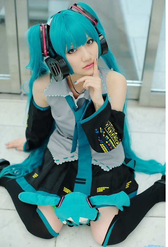 Anime Hatsune Miku VOCALOID Cosplay Costume Dress Custom Made Free Shipping