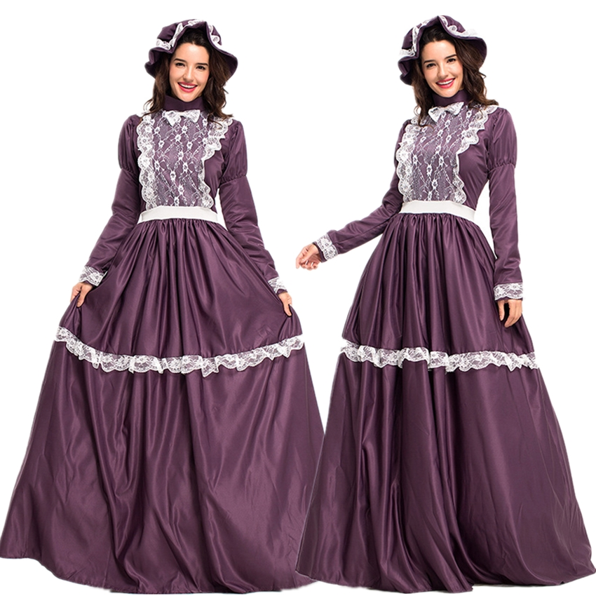 Purple Cap Robe 2Pcs Set Lace Carnival Halloween Costumes for Women Party Cosplay Noble Disguise Vestidos Female Medieval Dress