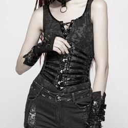 Punk Rave Vrouwen Goth Faux Lederen Strips Underbust Breed Gordels WS273YDF