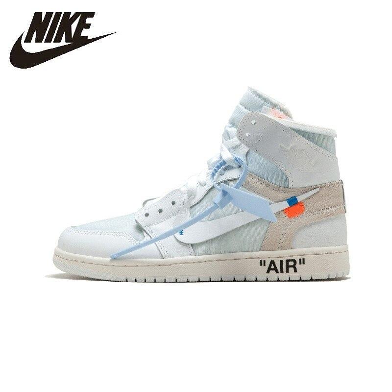 Nike Air Jordan 1 X blanc cassé Conjointement Aj1 basketball pour hommes Chaussures Confortables En Plein Air Chaussures De Sport # AQ0818-100