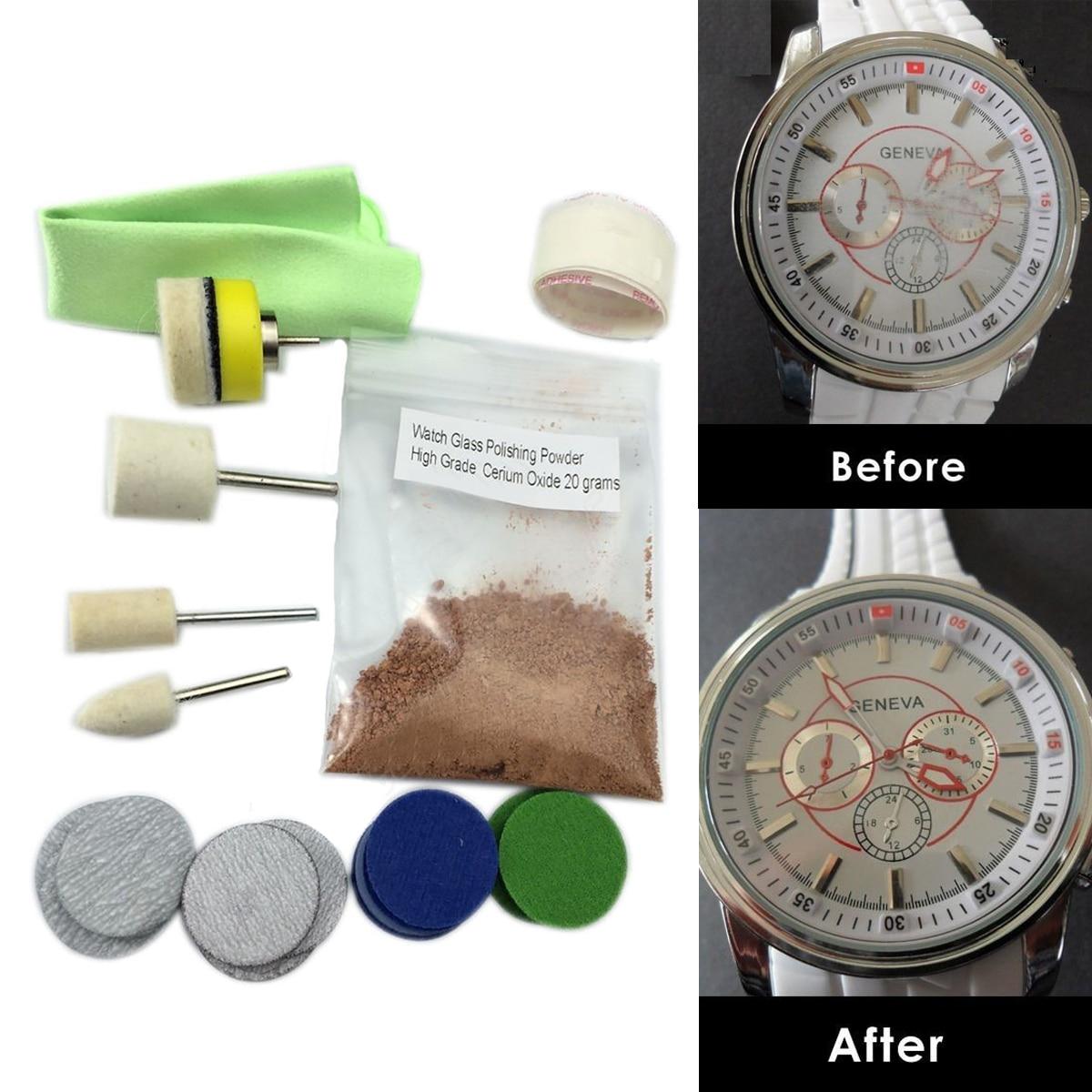 OSSIEAO New Watch Glass Polishing Kit Glass Scratch Removal Set Acrylic Sapphire Crystal